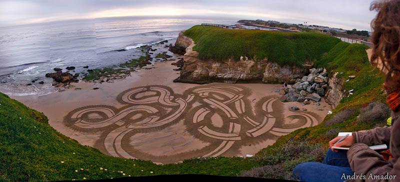 Playing with designs on Santa Cruz, CA.