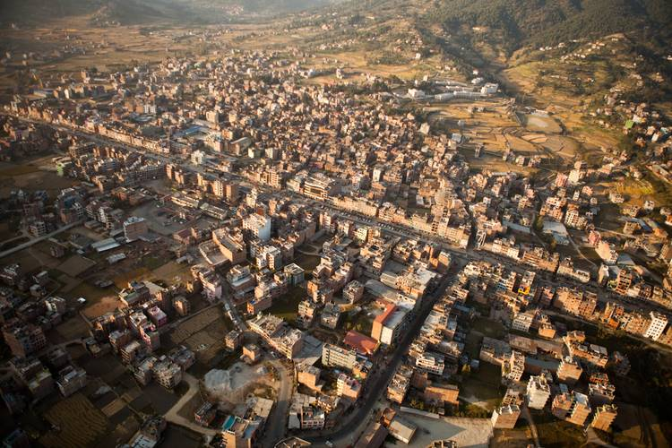 A Nepali town as seen from the Air.