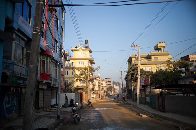 The streets of Kathmandu at sunrise.